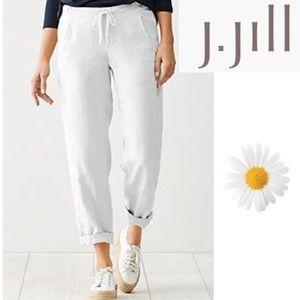 J.Jill Love linen white drawstring lined tapered L